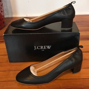 J Crew Anya Leather Block Heels